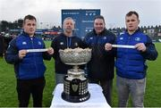 11 February 2016; Leinster's Bryan Byrne, left, and his twin brother Ed draw out the teams in the Bank of Ireland Leinster Schools Senior Cup semi-final draw with Lorcan Balfe from Leinster Rugby and Robert McDermott, Leinster Rugby President. Donnybrook Stadium, Donnybrook, Dublin. Picture credit: Matt Browne / SPORTSFILE