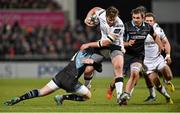 12 February 2016; Stuart McCloskey, Ulster, is tackled by Glenn Bryce, Glasgow. Guinness PRO12, Round 14, Ulster v Glasgow. Kingspan Stadium, Ravenhill Park, Belfast. Picture credit: Oliver McVeigh / SPORTSFILE