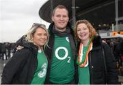 13 February 2016; Ireland supporters Niamh McGrath, John Nixon and Caroline Cullan at the Stade de France. RBS Six Nations Rugby Championship, France v Ireland. Stade de France, Saint Denis, Paris, France. Picture credit: Ramsey Cardy / SPORTSFILE