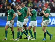 13 February 2016; Dejected Ireland players, from left, Conor Murray, Jamie Heaslip, Donnacha Ryan, Fergus McFadden and Tommy O'Donnell, after the game. RBS Six Nations Rugby Championship, France v Ireland. Stade de France, Saint Denis, Paris, France. Picture credit: Brendan Moran / SPORTSFILE