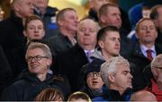 13 February 2016; Former Derry footballer Joe Brolly, Mayo footballer Cillian O'Connor and An Taoiseach Enda Kenny T.D watch on during the game. AIB GAA Football Senior Club Championship Semi-Final, Castlebar Mitchels, Mayo, v Crossmaglen Rangers, Armagh. Kingspan Breffni Park, Cavan. Picture credit: Stephen McCarthy / SPORTSFILE