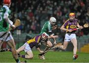 13 February 2016; David Reidy, Limerick, in action against James Breen, left, and Andrew Shore, Wexford. Allianz Hurling League, Division 1B, Round 1, Limerick v Wexford. Gaelic Grounds, Limerick. Picture credit: Sam Barnes / SPORTSFILE