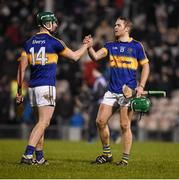 13 February 2016; Tipperary forwards Conor Kenny and Noel McGrath,shake hands after the game. Allianz Hurling League, Division 1A, Round 1, Tipperary v Dublin. Semple Stadium, Thurles, Co. Tipperary. Picture credit: Ray McManus / SPORTSFILE