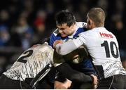 12 February 2016; Cian Kelleher, Leinster, is tackled by Oliviero Fabiani, left, and Maicol Azzolini, Zebre. Guinness PRO12, Round 14, Leinster v Zebre, RDS Arena, Ballsbridge, Dublin. Picture credit: Cody Glenn / SPORTSFILE