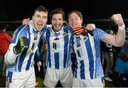 13 February 2016; Ballyboden St Enda's team-mates, from left, Sam Molony, Bob Dwan, and Darren O'Reilly celebrate. AIB GAA Football Senior Club Championship, Semi-Final, Ballyboden St Enda's v Clonmel Commercials. O'Moore Park, Portlaoise, Co. Laois. Picture credit: Cody Glenn / SPORTSFILE