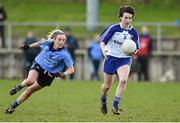14 February 2016; Cora Courtney, Monaghan, in action against Fiona Hudson, Dublin. Lidl Ladies Football National League, Division 1,  Monaghan v Dublin. Emyvale, Co. Monaghan. Picture credit: Oliver McVeigh / SPORTSFILE