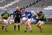 14 February 2016; Ryan Mullaney, Laois, in action against John Egan, Kerry. Allianz Hurling League, Division 1B, Round 1, Laois v Kerry. O'Moore Park, Portlaoise, Co. Laois. Picture credit: Paul Mohan / SPORTSFILE