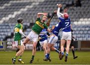 14 February 2016; Michael O'Leary, Kerry, in action against Neil Foyle, and Ryan Mullaney, right, Laois. Allianz Hurling League, Division 1B, Round 1, Laois v Kerry. O'Moore Park, Portlaoise, Co. Laois. Picture credit: Paul Mohan / SPORTSFILE