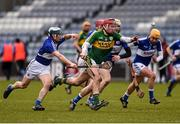 14 February 2016; Tommy Casey, Kerry, in action against Brendan Reddin, Laois. Allianz Hurling League, Division 1B, Round 1, Laois v Kerry. O'Moore Park, Portlaoise, Co. Laois. Picture credit: Paul Mohan / SPORTSFILE