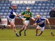 14 February 2016; Jack Goulding, Kerry, in action against Ryan Mullaney, Laois. Allianz Hurling League, Division 1B, Round 1, Laois v Kerry. O'Moore Park, Portlaoise, Co. Laois. Picture credit: Paul Mohan / SPORTSFILE