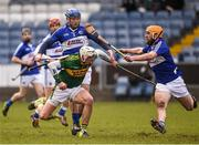 14 February 2016; Shane Nolan, Kerry, in action against Darren Maher, and Cahir Healy, right, Laois. Allianz Hurling League, Division 1B, Round 1, Laois v Kerry. O'Moore Park, Portlaoise, Co. Laois. Picture credit: Paul Mohan / SPORTSFILE