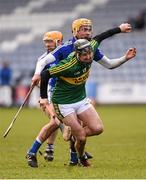 14 February 2016; John Egan, Kerry, in action against Oisin Carroll, Laois. Allianz Hurling League, Division 1B, Round 1, Laois v Kerry. O'Moore Park, Portlaoise, Co. Laois. Picture credit: Paul Mohan / SPORTSFILE