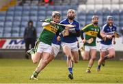 14 February 2016; Colum Harty, Kerry, in action against Matthew Whelan, Laois. Allianz Hurling League, Division 1B, Round 1, Laois v Kerry. O'Moore Park, Portlaoise, Co. Laois. Picture credit: Paul Mohan / SPORTSFILE