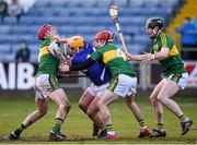 14 February 2016; Charlie Dwyer, Laois, in action against Tommy Casey, left, Keith Carmody, and Bryan Murphy, right, Kerry. Allianz Hurling League, Division 1B, Round 1, Laois v Kerry. O'Moore Park, Portlaoise, Co. Laois. Picture credit: Paul Mohan / SPORTSFILE
