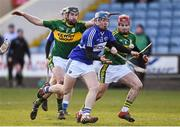 14 February 2016; Mark Kavanagh, Laois, in action against Darren Dineen, and Keith Carmody, right, Kerry. Allianz Hurling League, Division 1B, Round 1, Laois v Kerry. O'Moore Park, Portlaoise, Co. Laois. Picture credit: Paul Mohan / SPORTSFILE