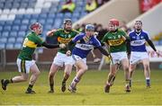 14 February 2016; Mark Kavanagh, Laois, in action against Sean Weir, left, Darren Dineen, and Keith Carmody, right, Kerry. Allianz Hurling League, Division 1B, Round 1, Laois v Kerry. O'Moore Park, Portlaoise, Co. Laois. Picture credit: Paul Mohan / SPORTSFILE