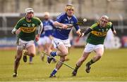14 February 2016; Ciaran Collier, Laois, in action against Shane Nolan,and Sean Weir, right, Kerry. Allianz Hurling League, Division 1B, Round 1, Laois v Kerry. O'Moore Park, Portlaoise, Co. Laois. Picture credit: Paul Mohan / SPORTSFILE