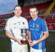 29 November 2009; Brothers, Ronan Gallagher and Rory Gallagher, St. Gall's, with the cup after the game. AIB GAA Football Ulster Club Senior Championship Final, St. Gall's v Loup, Páirc Esler, Newry, Co. Down. Picture credit: Oliver McVeigh / SPORTSFILE