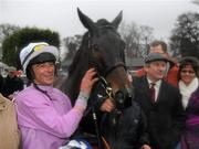 29 December 2009; Winning jockey Davy Russell and trainer Charles Byrnes with Solwhit after winning the Leopardstown Golf Centre December Festival Hurdle. Leopardstown Christmas Racing Festival 2009, Leopardstown Racecourse, Dublin. Picture credit: Brian Lawless / SPORTSFILE