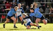14 February 2016; Ciara McAnespie, Monaghan, in action against Olwen Carey, Dublin.  Lidl Ladies Football National League, Division 1,  Monaghan v Dublin. Emyvale, Co. Monaghan. Picture credit: Oliver McVeigh / SPORTSFILE