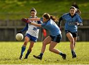 14 February 2016; Therese Scott, Monaghan, in action against Noelle Healy, Dublin.  Lidl Ladies Football National League, Division 1,  Monaghan v Dublin. Emyvale, Co. Monaghan. Picture credit: Oliver McVeigh / SPORTSFILE