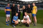 16 February 2016; In attendance at the launch of the 2016 EirGrid GAA Football U21 All-Ireland Championship launch today are John O'Connor, Chairman, EirGrid, left, and Rosemary Steen, Director of Public Affairs, EirGrid, with U21 ambassadors Trevor Giles, former Meath footballer, and Sean Cavanagh, Tyrone footballer, with U21 footballers, from left, Jimmy Feehan, Tipperary, Frank Byrne, Tyrone, Eoin Murchan, Dublin, and Cathal Compton, Roscommon. Croke Park, Dublin. Picture credit: Stephen McCarthy / SPORTSFILE