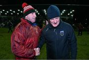 16 February 2016; University College Dublin manager Nicky English, right, shakes hands with Institute of Technology Carlow manager DJ Carey after the game. Independent.ie HE GAA Fitzgibbon Cup, Quarter-Final, Institute of Technology Carlow v University College Dublin, IT Carlow Grounds, Carlow. Picture credit: Matt Browne / SPORTSFILE