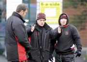 12 January 2010; Ulster head coach Brian McLaughlin, centre, with assistant forwards coach Jeremy Davidson, left, and assistant backs coach Neil Doak during squad training ahead of their Heineken Cup game against Edinburgh on Friday night. Ashfield Boys School, Belfast, Co. Antrim. Picture credit: Oliver McVeigh / SPORTSFILE