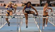 17 February 2016; Sharika Nelvis, USA, centre, on her way to winning the heat 1 of the 60m women's hurdles ahead of Sarah Lavin, Ireland, left, and Lilly-Ann O'Hora, Ireland, right, at the AIT International Athletics Grand Prix. AIT International Arena, Athlone, Co. Westmeath. Picture credit: Cody Glenn / SPORTSFILE