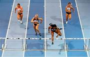 17 February 2016; Sharika Nelvis of the USA on her way to winning her heat of the women's 60m hurdles event, also pictured are, from left, Lilly-Ann O'Hora of Ireland, Sarah Lavin of Ireland and Catherine McManus of Ireland, at the AIT International Athletics Grand Prix. Athlone Institute of Technology International Arena, Athlone, Co. Westmeath. Picture credit: Stephen McCarthy / SPORTSFILE