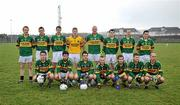 16 January 2010; The Kerry team, back row from left, Declan Griffin, Paul O'Donoghue, Mike Moloney, Tomas Mac an tSaoir, Micheal Quirke, Alan O'Sullivan, Niall O'Mahony, and Adrian O'Connell, with front row, from left, Pat Corridan, David Geaney, Brian Looney, Barry John Keane, Paudge O'Connor, Adrian 'Shine 'Sullivan and Adrian O'Connell. McGrath Cup, Preliminary Round, Kerry v IT Tralee, Strand Road Pitch, Kerins O'Rahillys GAA Club, Tralee, Co. Kerry. Picture credit: Brendan Moran / SPORTSFILE