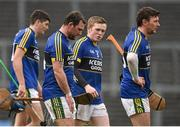 21 February 2016; Dejected Kerry players including Mikey Boyle, Daniel Collins, centre, and John Egan after the game. Allianz Hurling League, Division 1B, Round 2, Kerry v Limerick, Fitzgerald Stadium, Killarney, Co. Kerry. Picture credit: Brendan Moran / SPORTSFILE