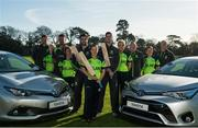 22 February 2016; Cricket Ireland received a major boost to the organisation and their quest for Test Cricket in 2018 with Toyota renewing their relationship with the sports body for a further four years. The announcement was made today at Malahide Cricket Club and pictured are from left, Aaron Hamilton, Women's coach, Ciara Metcalfe, Max Sorensen, Lucy O'Reilly, Andrew Balbirnie, Isobel Joyce, George Dockrell, Robyn Lewis, Andrew Poynter, Claire Shillington and John Bracewell, Men's coach. Malahide Cricket Club, Dublin Rd, Malahide, Co. Dublin. Picture credit: Piaras Ó Mídheach / SPORTSFILE