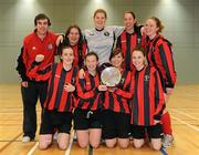 30 January 2010; Trinity players, front row, from left, Hannah Tyrrell, Josephine Amelia Shister, Megan Capper, Tara Harrison, back row, from left, Oisin McMahon Fogarty, coach, Maria De Maio, Cheryl Kemsley, Emily Sheehan, Maeve Duggan. WSCAI National Futsal Plate Final, Trinity v NUIM, Kingfishers Sports Centre, NUIG, University Road, Galway. Picture credit: Matt Browne / SPORTSFILE