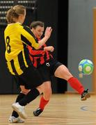 30 January 2010; Josephine Amelia Shister, Trinity, in action against Megan Brickley, NUI Maynooth. WSCAI National Futsal Plate Final, Trinity v NUIM, Kingfishers Sports Centre, NUIG, University Road, Galway. Picture credit: Matt Browne / SPORTSFILE