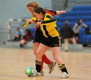30 January 2010; Maeve Duggan, Trinity, in action against Saileog O'Keefe, NUI Maynooth. WSCAI National Futsal Plate Final, Trinity v NUIM, Kingfishers Sports Centre, NUIG, University Road, Galway. Picture credit: Matt Browne / SPORTSFILE