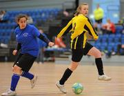 30 January 2010; Megan Brickley, NUI Maynooth, in action against Hazel McCarrerty, IT Sligo. WSCAI National Futsal Plate Semi-Final 1, IT Sligo v NUI Maynooth, Kingfishers Sports Centre, NUIG, University Road, Galway. Picture credit: Matt Browne / SPORTSFILE