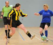 30 January 2010; Gemma McDonagh, IT Sligo, in action against Saileog O'Keefe, NUI Maynooth. WSCAI National Futsal Plate Semi-Final 1, IT Sligo v NUI Maynooth, Kingfishers Sports Centre, NUIG, University Road, Galway. Picture credit: Matt Browne / SPORTSFILE