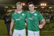 26 February 2016; Ireland's Cillian Gallagher, left, and man of the match James Ryan following their side's victory. U20 Six Nations Rugby Championship, England v Ireland,  Kingston Park, Newcastle, England. Picture credit: Ramsey Cardy / SPORTSFILE