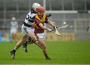 27 February 2016; Bill Sheehan, Kilkenny CBS, in action against Colum Prenderville, St Kieran's. Top Oil Leinster Colleges Senior A Hurling Championship Final, St. Kieran's v Kilkenny CBS, Nowlan Park, Kilkenny. Picture credit: Piaras Ó Mídheach / SPORTSFILE