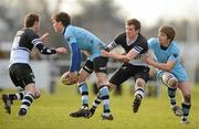 1 February 2010; Cormac Diamond and Dave Egan, right, St Michael's, in action against Cormac Meylor, left, and Gary Burns, Newbridge College. Leinster Schools Senior Cup First Round, St Michael's v Newbridge College, Lakelands Park, Terenure, Dublin. Picture credit: Paul Mohan / SPORTSFILE