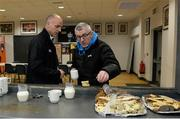27 February 2016; Referee Cormac Reilly and Jimmy McKee, former Armagh county referee, have tea before the game. Allianz Football League, Division 2, Round 3, Armagh v Fermanagh, Athletic Grounds, Armagh. Picture credit: Oliver McVeigh / SPORTSFILE