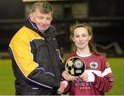 27 February 2016; Aislinn Meaney, Galway WFC, is presented with the player of the match award by Eddie Ryan, Marketing Director, Advance Pitstop. Continental Tyres Women's National League, Galway WFC v Cork City WFC, Eamon Deacy Park, Galway. Picture credit: Sam Barnes / SPORTSFILE