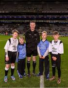 27 January 2016; Match referee Padraig Hughes, with Allianz mascots Mark Butler, second from left, and his brother Christopher, from Bayside N.S., and 'Young Whistelers' Rory Perry, extreme left, Scoil Mológa, Harold's Cross and Harry Collier, right, St Helen's Portmarnock, before the game. Allianz Football League, Division 1, Round 3, Dublin v Monaghan. Croke Park, Dublin. Picture credit: Ray McManus / SPORTSFILE