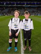 27 January 2016; 'Young Whistelers' Rory Perry, left, Scoil Mológa, Harold's Cross, and Harry Collier, St Helen's Portmarnock, before the game. Allianz Football League, Division 1, Round 3, Dublin v Monaghan. Croke Park, Dublin. Picture credit: Ray McManus / SPORTSFILE