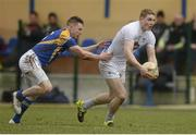 28 February 2016; Daniel Flynn, Kildare, in action against Mickey Quinn, Longford. Allianz Football League, Division 3, Round 3, Longford v Kildare, Glennon Brothers Pearse Park, Longford. Picture credit: Piaras Ó Mídheach / SPORTSFILE