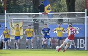 28 February 2016; Roscommon players, from left to right, Sean McDermott, Niall McInerney, Conor Daly, goalkeeper Geoffrey Claffey, Ian Kilbride, and Neil Collins, face a second-half free from Cork's Colm O'Neill. Allianz Football League, Division 1, Round 3, Cork v Roscommon. Páirc Uí Rinn, Cork. Picture credit: Diarmuid Greene / SPORTSFILE