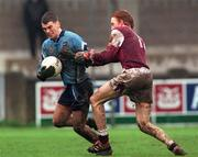 8 April 2001; Michael Casey of Dublin in action against Lorcan Colleran of Galway during the Allianz GAA National Football League Division 1A match between Dublin and Galway at Parnell Park in Dublin. Photo by Aoife Rice/Sportsfile