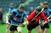 6 April 2001; Paul Doheny of UCD in action against Rory O'Doherty of UCC during the Fitzgibbon Cup Final match between UCD and UCC at Parnell Park in Dublin. Photo by Damien Eagers/Sportsfile