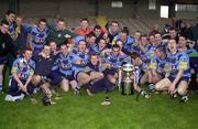 18 April 2001; The UCD squad celebrate after the Fitzgibbon Cup Final Replay match between UCD and UCC at McDonagh Park in Nenagh, Tipperary. Photo by Ray McManus/Sportsfile